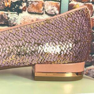 NWT Michael Kors Alyssa Slip on rose gold sequin 8